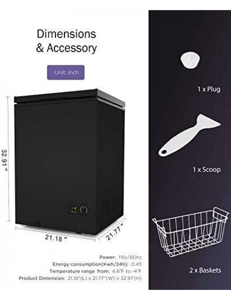 COOLHOME 3.5 Cubic Feet Chest Freezer with Removable Basket, from 6.8℉ to -4℉ Free Standing Compact Fridge Freezer for Home/Kitchen/Office/Bar (Black, 3.5 Cu.ft.-graffiti)
