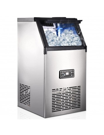 110V Commercial Ice Cube Maker,176 LBS /24 H Free-Standing Household Stainless Steel Ice Machine, Ice Cube Machine with 27lbs Storage,45 Ice Cubes Ready in 15 Min for Home/Café/Restaurant
