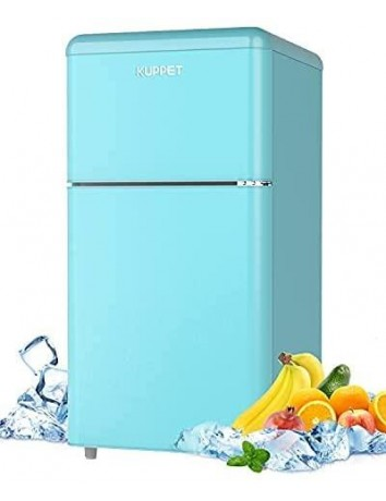 3.2 Cu.Ft Compact Refrigerator, Retro Mini fridge with Freezer for Bedroom, Drom, Apartment, Garage, Office, Adjustable Thermostat, Low Noise (Blue)