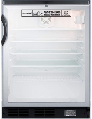 Accucold SCR600BGLBINZ 5.5 cu. ft. Built-in Glass Door Nutrition Center All Refrigerator with Alarm & Thermometer44; Black