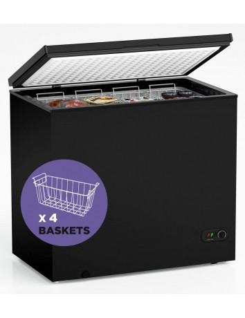 7.0 Cubic Feet Chest Freezer with Removable Basket, from 6.8℉ to -4℉ Free Standing Compact Fridge Freezer for Home/Kitchen/Office/Bar (Black, 7.0 Cu.ft.-normal)