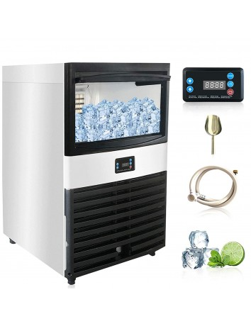 110V Commercial ice Maker 110 LBS/24H with 44lbs Ice Storage Capacity and Electric Water Drain Pump,Stainless Steel Free-Standing Ice Maker Machine for Bar, Home, Office, Restaurant, Coffee Shop