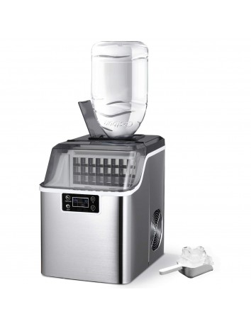 ADT Countertop Ice Maker Machine 1 Gallon Auto Self-Cleaning Square Ice 44Lbs/24H 24 Pcs Ice Cubes in 15 Mins with Ice Scoop