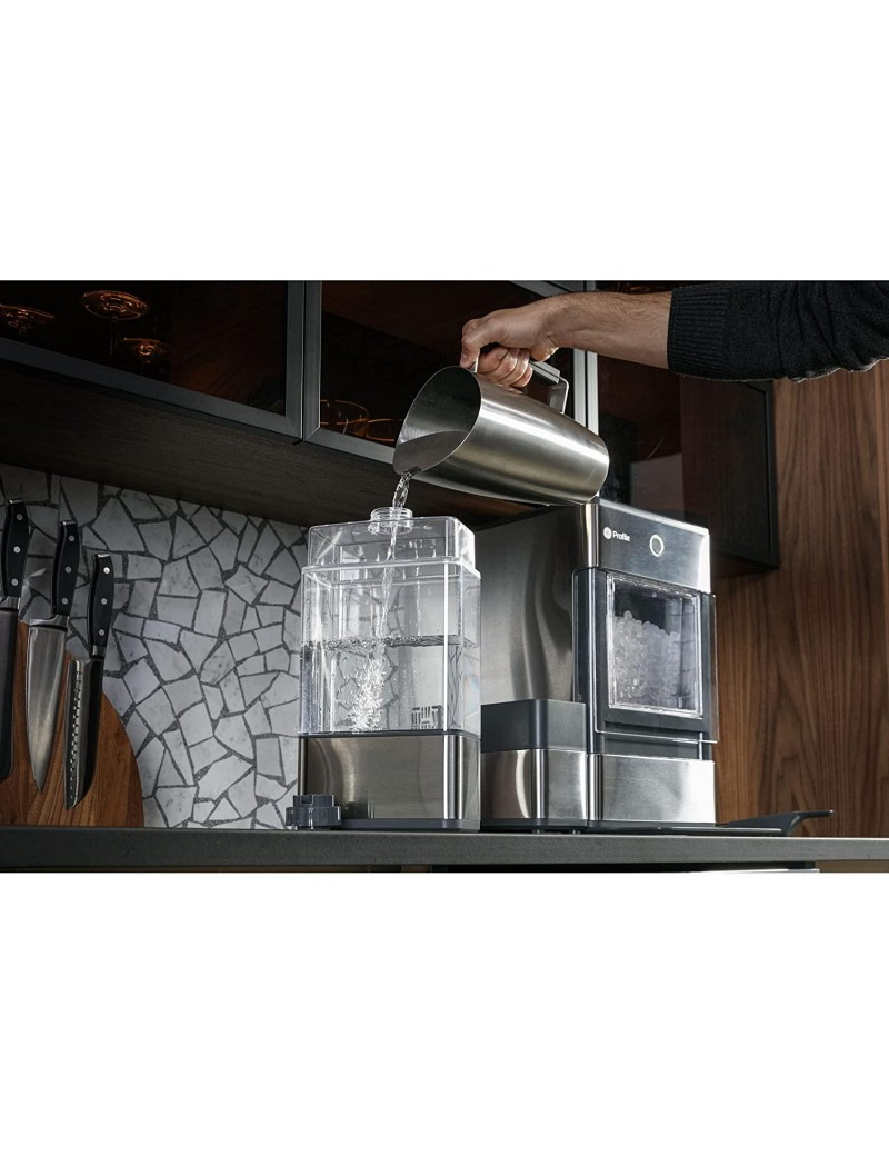 GE Profile OPAL01GEPKT Opal   Countertop Nugget Ice Maker, Stainless Steel Wrap with Gray Accents & LED Lighting