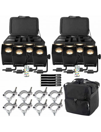 (2) Chauvet DJ Freedom Q1N Pin Spot RGB+WW Light Systems with Protective Transport Case Package