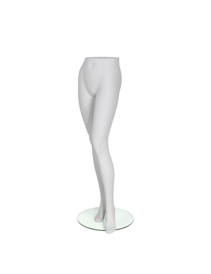 Female Trouser Form with Abstract Foot & Removable Heel - Matte White