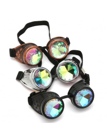 3x Kaleidoscope Prism Diffraction Glasses EDC Rave Goggles Steampunk Style Goggles - Black - Gold - Silver [3x Value Pack]