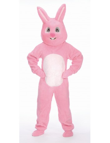 4 Piece Pink Easter Bunny Suit with Mascot Head - Adult Size Large