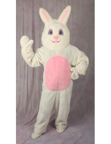 4 Piece White Easter Bunny Suit with Mascot Head - Adult Size Medium
