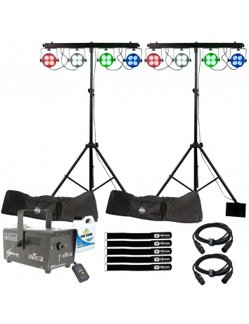 (2) American DJ Starbar Wash Complete Lighting Systems with Chauvet DJ Hurricane 700 Fog Machine Package