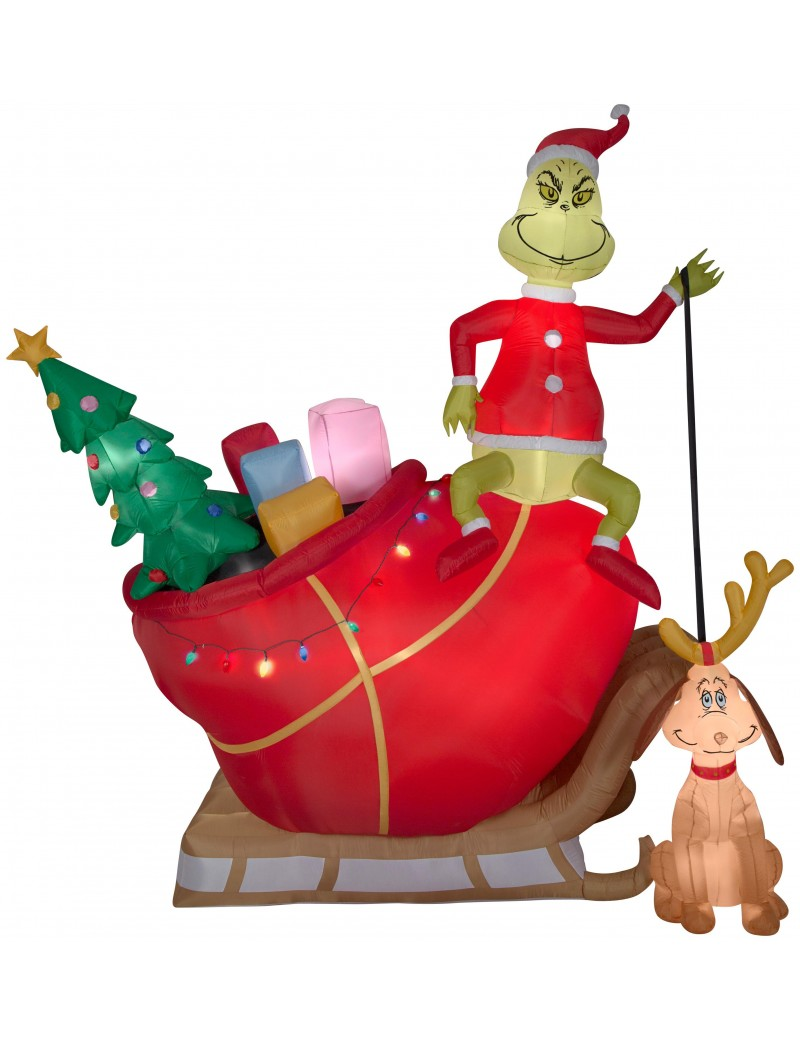 Grinch Max in Sled Airblown Christmas Decoration