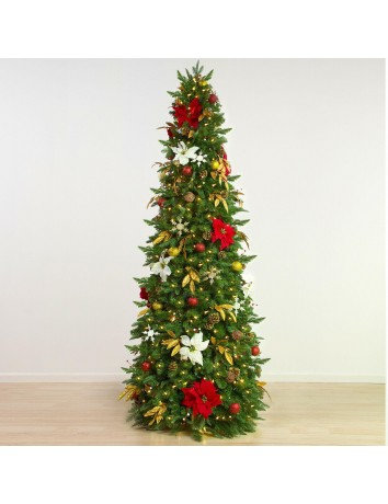 Easy Treezy 19T-REDGLD-75 7.5 Foot Pre-Lit Artificial Christmas Tree, Red/Gold